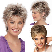 AS_ AM_ Women's Fashion Short Haircut Shag Short Curly Ombre Wig with Cap Party