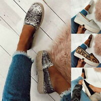 Womens Espadrilles Flat Loafers Pumps Ladies Casual Slip On Sneakers Shoes Size