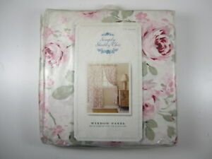 Simply Shabby Chic ROSALIE White Pink Floral Window Panel Curtain Drape 54 x 84