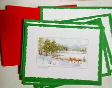 """14 Current Holiday - Christmas Cards with Deer, Stream, Snow """"All Is Calm"""""""