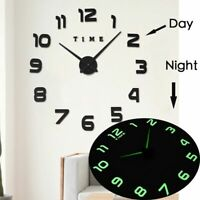 Luminous 3d Large Wall Clock Sticker Watch Diy Acrylic Mirror Clocks Stickers