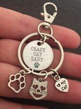 Crazy Cat Lady Charm Keyring I Love Cats Bag Charm Keychain Fob Gift Cat Emoji X