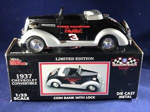 G-48 DALE EARNHARDT 1937 CHEVROLET CONVERTIBLE COIN BANK WITH LOCK - 1:25 SCALE