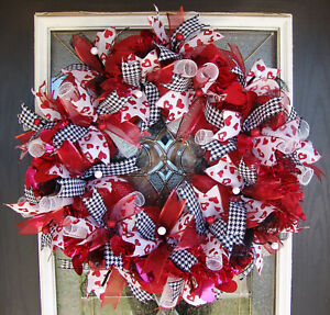 Red Bling Valentine's Day Deco Mesh Front Door Wreath, Home Decor Decoration