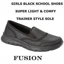 GIRLS SCHOOL SHOES, BLACK,UNIFORM, SUPER LIGHT & COMFORT, TRAINER STYLE, GO WALK