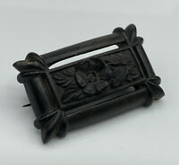 Superb Antique Victorian Hand Carved Bog Oak Floral Panel Mourning Brooch