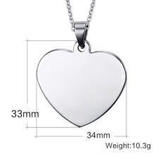 Blank Heart Dog Tag Stainless Steel Pendant Necklace Fashion Jewelry Gift