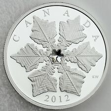 2012 $20 Holiday Snowflake 99.99% Pure Silver Proof, Swarovski Crystal Element