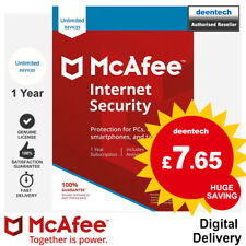 McAfee Internet Security 2018 Unlimited/1Year Genuine Authentic License Windows