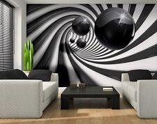 Carta da parati murale per camera letto gigante FOTO NERA TUNNEL & SFERA