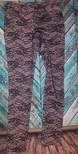 A.Z.I. lace lined black and tan skinny jeans leggings with pockets as 4, 29x31.5
