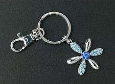 Purse Charm Crystal Blue Silver Plated Key Chain Ring Flower Mothers Day Gifts