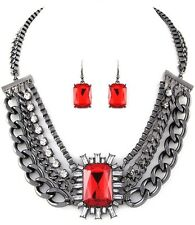Red Necklace & Earring Set Multi Layer Women Fashion Jewelry Pewter