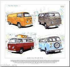 VOLKSWAGEN TYPE 2 THE BAY WINDOW - FINE ART PRINT  Transporter Bus Camper Van VW