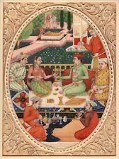 Indian Miniature Mughal Painting Handmade Dara Shikoh Mogul Dynasty Garden Art