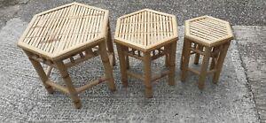Vintage Cane bamboo Rattan Retro side wine plant tables, Set Of 3 uk delivered