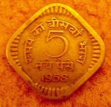 RARE India 5 Paisa RUPIA Coin 1958 AUTHENTC ANTICO VINTAGE OLD ALBUM COLLEZIONE