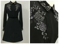 Special Price! AUTH Ted Baker Long sleeved embroidered shirt dress Black, 2-5