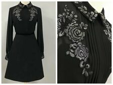 Special Price! AUTH Ted Baker Long sleeved embroidered shirt dress Black 0-5
