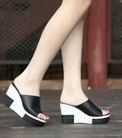 Women Peep Toe Sandals Shoes High Heels High Wedge Platform Summer Slippers Chic