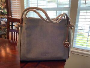 Michael Kors Isla Large Textured Leather Grab Bag, Pale Gold
