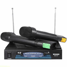 COPPIA MICROFONI PROFESSIONALI WIRELESS VHF MUSICA KARAOKE STEREO MICROFONO