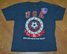USA United States Soccer 2014 FIFA World Cup T Shirt Youth 10-12 Medium Nice