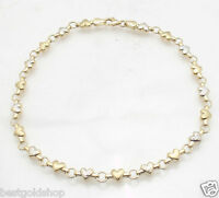 Diamond Cut Heart Chain Anklet Ankle Bracelet Real 10K Yellow White TwoTone Gold