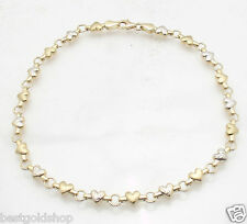 14K Yellow White Two-Tone Gold Heart Chain Anklet Ankle Bracelet Real