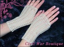 1800's Civil War Victorian Beige Cream Handmade gloves Pearls 100% cotton New