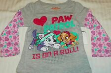 """""""NEW"""" Paw Patrol ~ SKYE & Everest ~ SHIRT Infant Toddler Girl's 2T Nick Jr GLITR"""