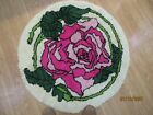 Vintage Latch Hook Round Rug 3 Feet & Inches  Across Pink Rose Pattern