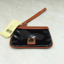 Dooney & Bourke Medium Black Patent Leather Wristlet Pouch Coin Purse NWT Flaw