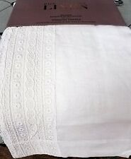 "Pure Luxury 100% Linen White Lace Semi Sheer 2 Window Curtain Panels 50"" x 84"""