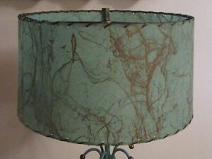 VTG Mid Century Turquoise Fiberglass Atomic Lamp Shade (Shade Only)