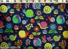 Timeless Treasures ~ ORGANIC COTTON Bright Snails ~ 100% Cotton Quilt Fabric BTY