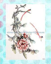 "birds peony flower large 8.25"" half-sleeve arm tattoo cheap temporary tattoos"
