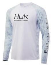 Huk Current Camo Double Header Long-Sleeve Shirt White/Kenai Size Medium