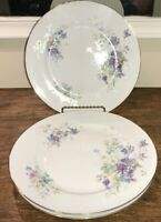 "DECORS DE FRANCE TOUR EIFFEL LOT OF 3 DINNER PLATES  10"" PASTEL FLOWERS EUC"