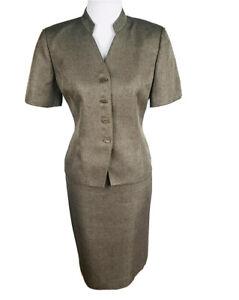 KASPER Women 2 PC Short Sleeves Brown Size 8 P