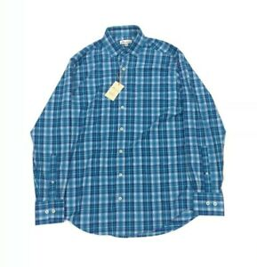 NEW Peter Millar Casual Long Sleeve Crown Sport Dress Shirt Blue Plaid Mens Sz M