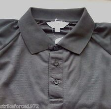 "NEW - Security Style BLACK Coolmax Button Neck T Shirt - Size L  (42-44"" Chest)"