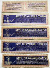Early 1900's Cracker Jack Mail Away Coupons For Premiums Catalog (5) Different