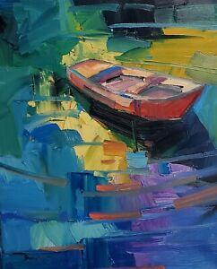 JOSE TRUJILLO Oil Painting IMPRESSIONISM BOAT COLLECTIBLE FINE ART MODERN COA