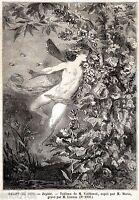 Il vento Zefiro. Figlio di Eolo e Eos, l'Aurora. Mitologia. + Passepartout. 1859