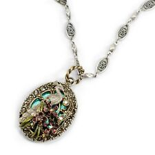 NEW SWEET ROMANCE  PEACOCK FLOURISH CRYSTAL & ENAMEL PENDANT NECKLACE