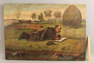 1938 Antique Signed Russian Revolution Oil Painting, Vladimir Lenin in Razliv NR