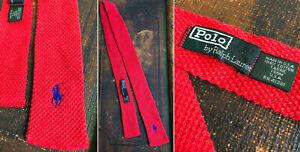 VTG 80s POLO USA RALPH LAUREN COTTON KNIT SQUARED NECKTIE BRIGHT RED BLUE PREPPY