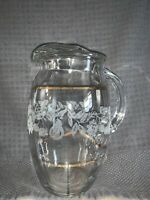 Vintage MCM Glass Pitcher Frosted Leaf Design with Gold Trim