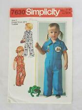 Vintage c.1977 SIMPLICITY #7630 Toddler's Jumpsuit size 1